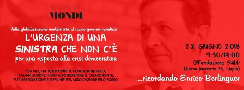"""Le Associazioni """"Be"""" e """"Filo Rosso"""" aderiscono all'iniziativa """"…ricordando Enrico Berlinguer. L'urgenza di una sinistra che non c'è"""""""