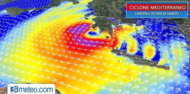 Intenso ciclone mediterraneo in rotta verso la Grecia. Lambita Italia